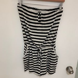 Pants - Striped causal romper with pockets